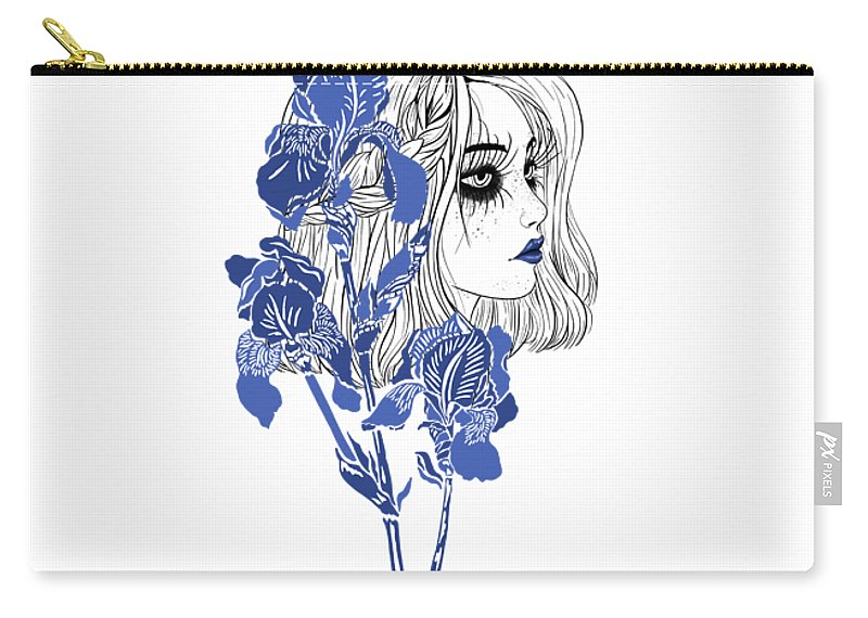 Digital Art Carry-all Pouch featuring the digital art China girl by Elly Provolo