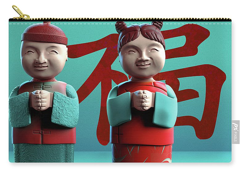 China Carry-all Pouch featuring the digital art Chinese Good Luck Statues by Heike Remy