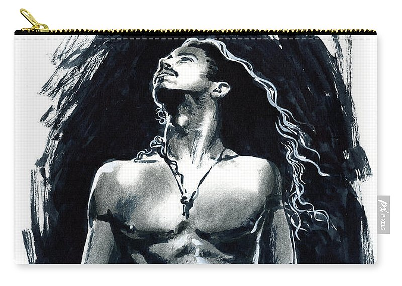Chris Cornell Carry-all Pouch featuring the mixed media Chris in bw by Ken Meyer jr
