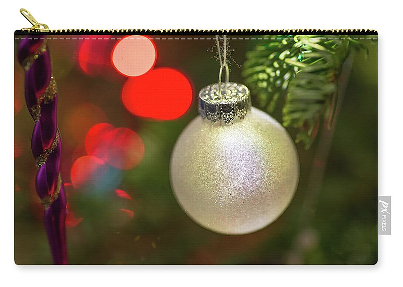 Ball Carry-all Pouch featuring the photograph Christmas Ornaments With Bokeh Background by Ognian Setchanov