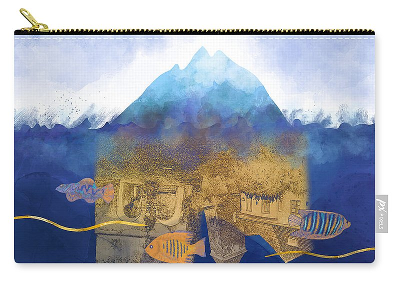 Climate Change Carry-all Pouch featuring the digital art City Under Water #2 - Climate Change Surrealism by Andreea Dumez