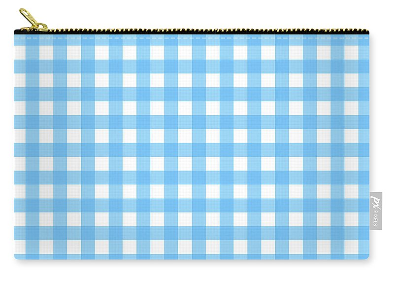 Gingham Check Throw Pillows Carry-all Pouch featuring the digital art Blue Gingham by Log and Mitten