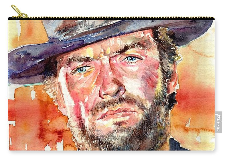 Clint Carry-all Pouch featuring the painting Clint Eastwood Watercolor by Suzann Sines