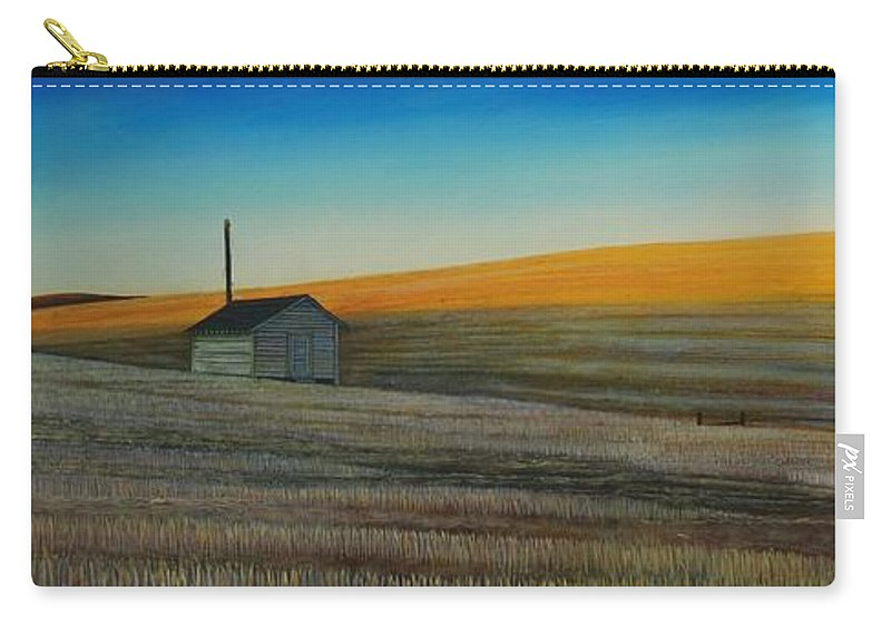 Wheat Carry-all Pouch featuring the painting Cold Field at Dusk by Leonard Heid