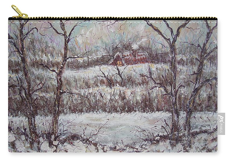 Landscape Carry-all Pouch featuring the painting Cold Winter by Natalie Holland