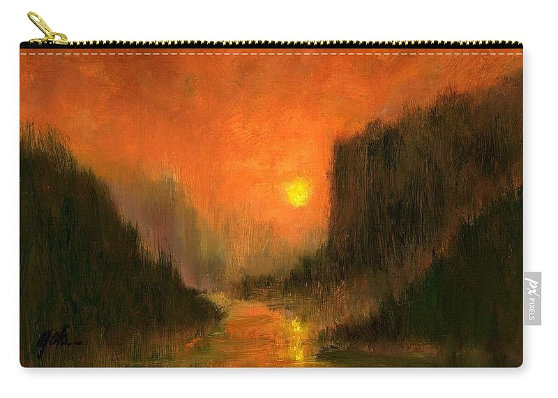 Miniatures Oil Paintings Carry-all Pouch featuring the painting Columbia Gorge Nocturn by Jim Gola
