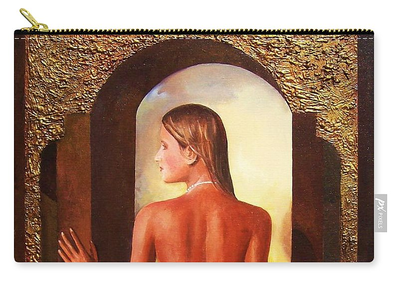 Nudes Carry-all Pouch featuring the painting Come To Me by Sinisa Saratlic