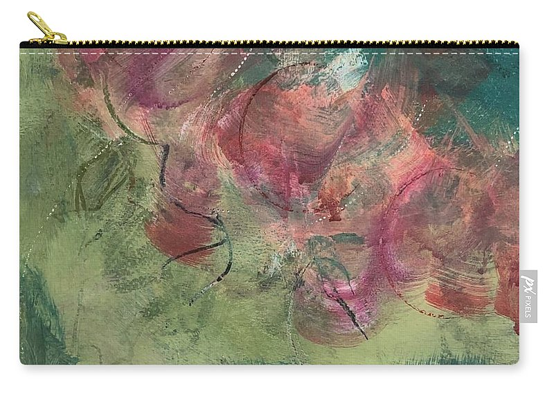 Abstract Carry-all Pouch featuring the painting Coming Up Roses by Carolyn Rhinebarger