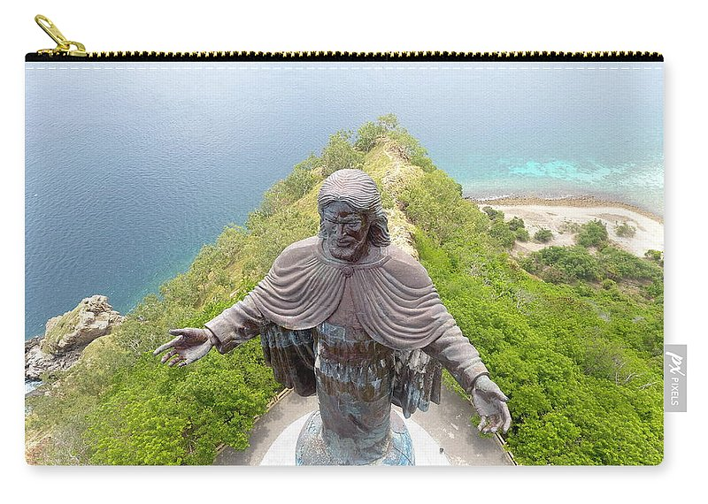 Adventure Carry-all Pouch featuring the photograph Cristo Rei of Dili statue of Jesus by Brthrjhn2099