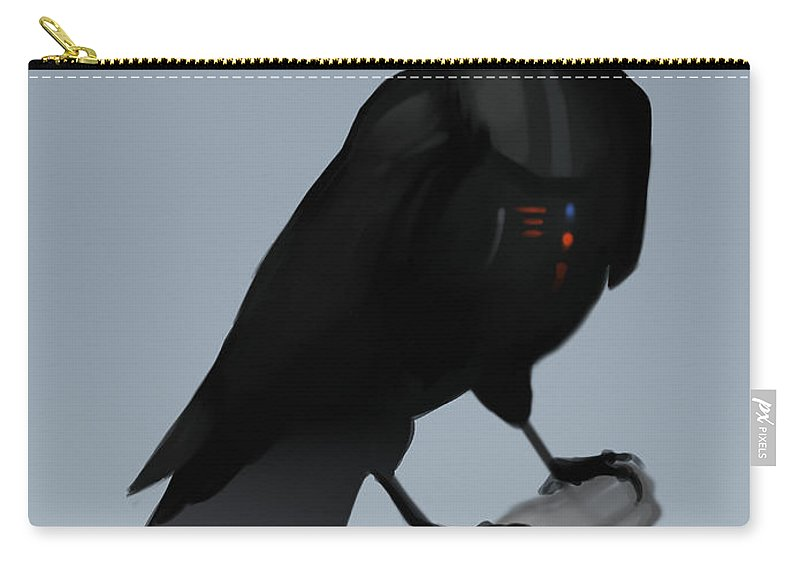 Birds Carry-all Pouch featuring the digital art Crow Vader by Michael Myers
