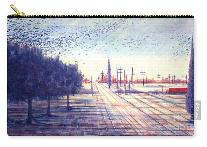 Crows Carry-all Pouch featuring the painting Crows by Judy Henninger