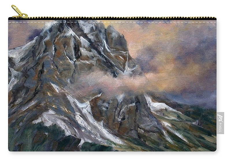 Landscape Carry-all Pouch featuring the painting Daddy Teton by Jim Gola