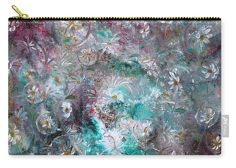 Original Flower Abstract Painting Carry-all Pouch featuring the painting Daisy Dreamz by Karin Dawn Kelshall- Best