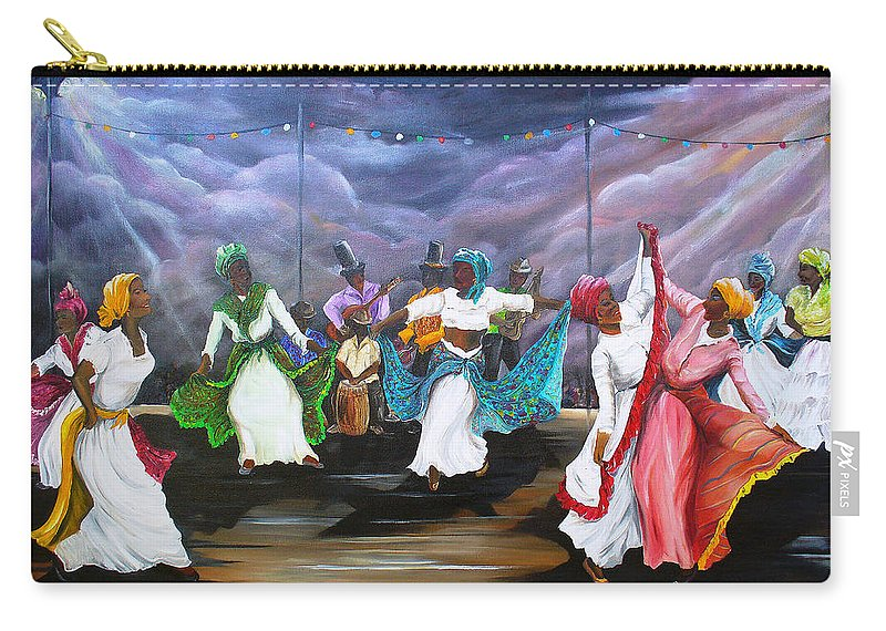 Caribbean Painting Original Painting Folklore Dance Painting Trinidad And Tobago Painting Dance Painting Tropical Painting Carry-all Pouch featuring the painting Dance The Pique by Karin Dawn Kelshall- Best
