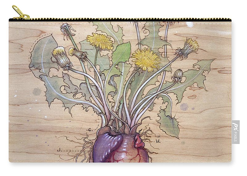 Dandelion Carry-all Pouch featuring the pyrography Dandelion Heart by Fay Helfer