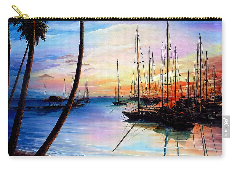 Ocean Painting Seascape Yacht Painting Sailboat Painting Sunset Painting Tropical Painting Caribbean Painting Yacht Painting At The End Of A Yachting Regatta At Pigeon Point Tobago Painting Carry-all Pouch featuring the painting DAYS END Yachting Regatta At Pigeon Point Tobago by Karin Dawn Kelshall- Best