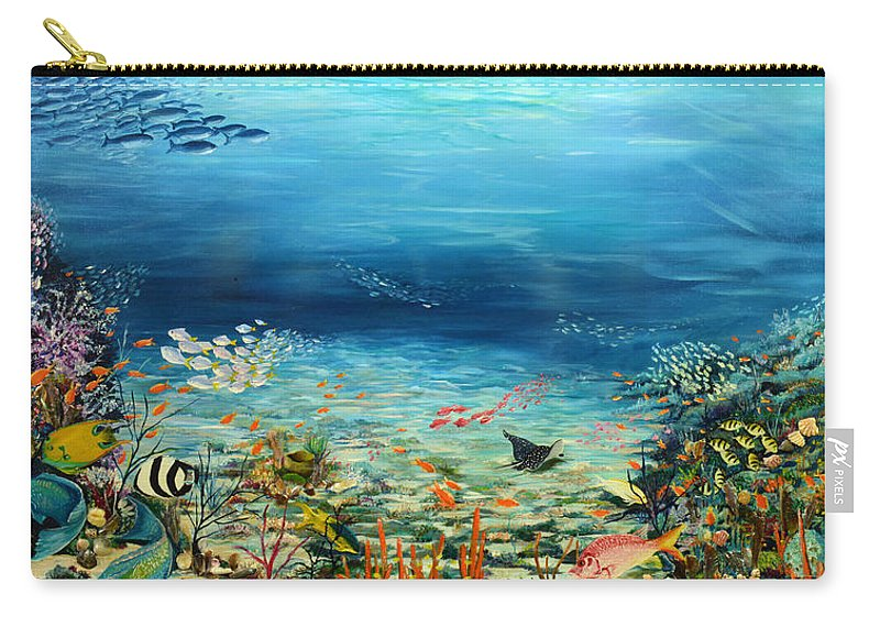 Ocean Painting Undersea Painting Coral Reef Painting Caribbean Painting Calypso Reef Painting Undersea Fishes Coral Reef Blue Sea Stingray Painting Tropical Reef Painting Tropical Painting Carry-all Pouch featuring the painting Deep Blue Dreaming by Karin Dawn Kelshall- Best