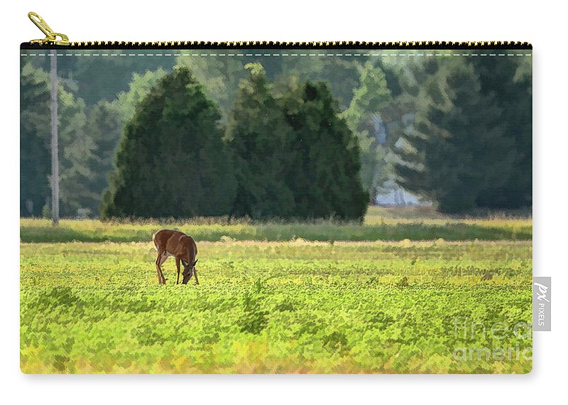 Deer Carry-all Pouch featuring the photograph Deer in field by Gaby Swanson