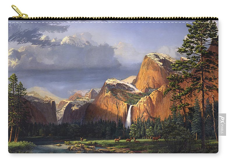 American Carry-all Pouch featuring the painting Deer Meadow Mountains Western stream Deer waterfall Landscape Oil Painting stormy sky snow scene by Walt Curlee