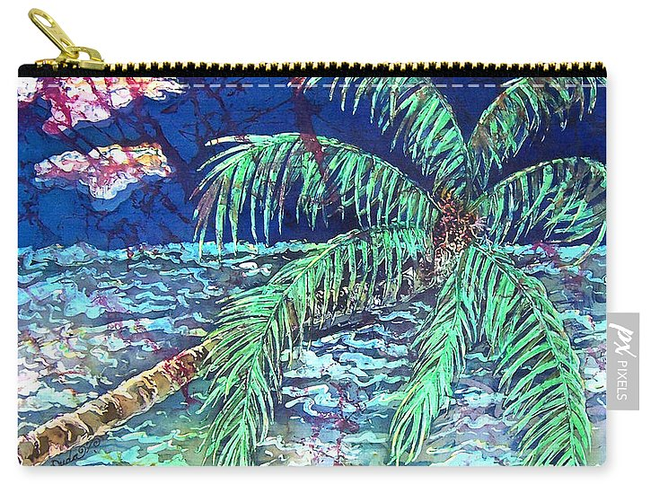 Seascape Carry-all Pouch featuring the painting Delightful Day in the Tropics - Palm Tree by Sue Duda
