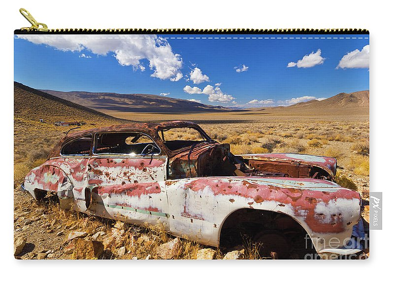 Rusty Car Carry-all Pouch featuring the photograph Derelict Buick Roadmaster, Death Valley, Calif by Neale And Judith Clark