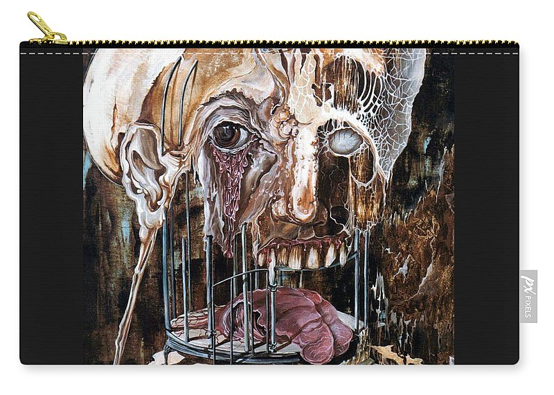 Surrealism Carry-all Pouch featuring the painting Deterioration Of Mind Over Matter by Otto Rapp