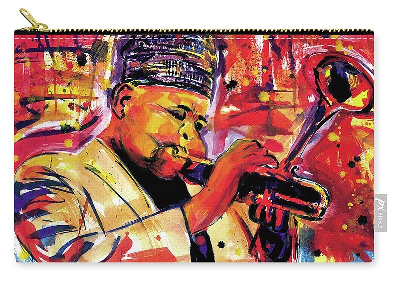 African Mask Carry-all Pouch featuring the painting Dizzy Gillespie by Everett Spruill