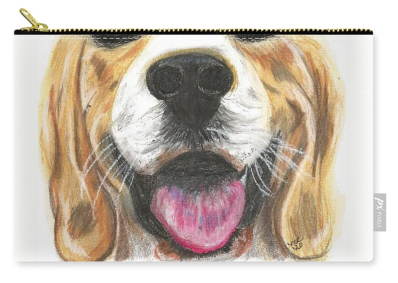 Dog Face Carry-all Pouch featuring the painting Dog Face by Monica Resinger