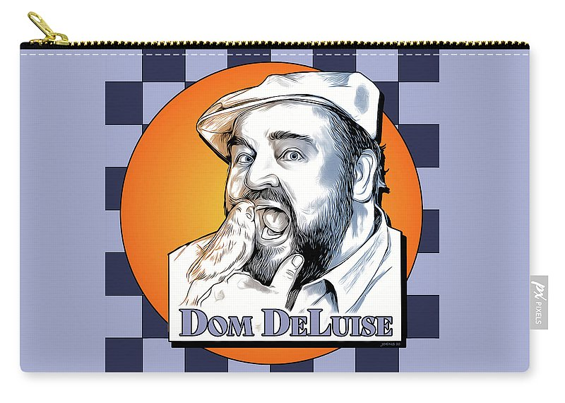 Dom Deluise Carry-all Pouch featuring the digital art Dom and the Bird by Greg Joens
