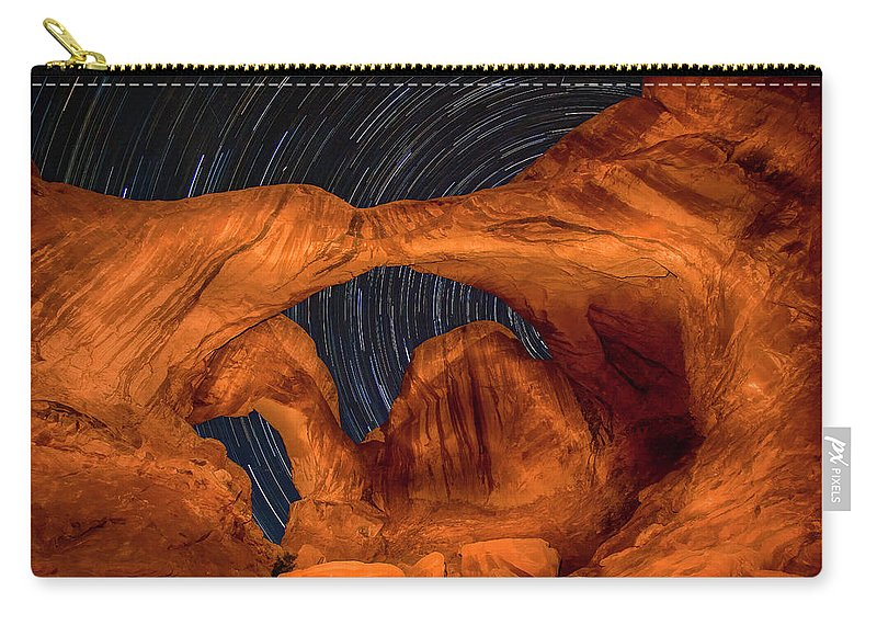 3scape Carry-all Pouch featuring the photograph Double Arch Star Trails by Adam Romanowicz