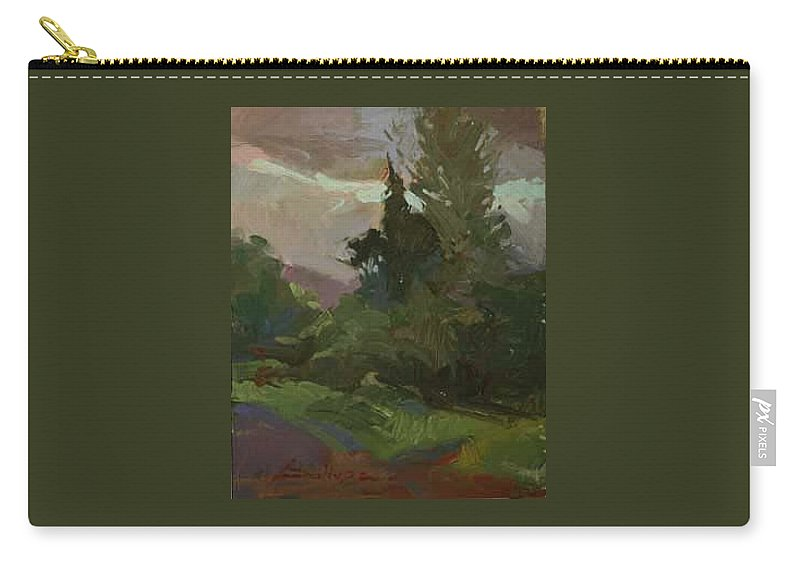 Impressionism Carry-all Pouch featuring the painting Dusk Woodland Plein Air by Betty Jean Billups