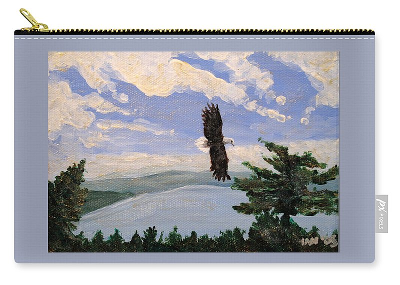 Bald Headed Eagle Carry-all Pouch featuring the painting Eagles Fly Over Lake Huron by Ian MacDonald
