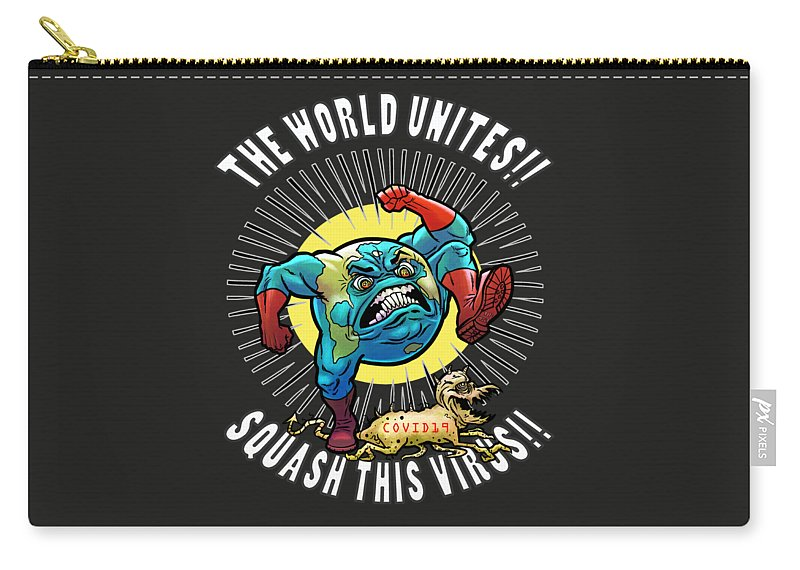 Earth Vs Virus Carry-all Pouch featuring the digital art Earth vs Virus by Jonathan Buhl