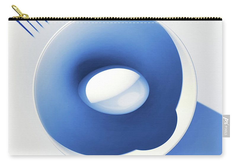 Egg Carry-all Pouch featuring the digital art Egg and Bowl_electric blue after Cesare Onestini by Heike Remy