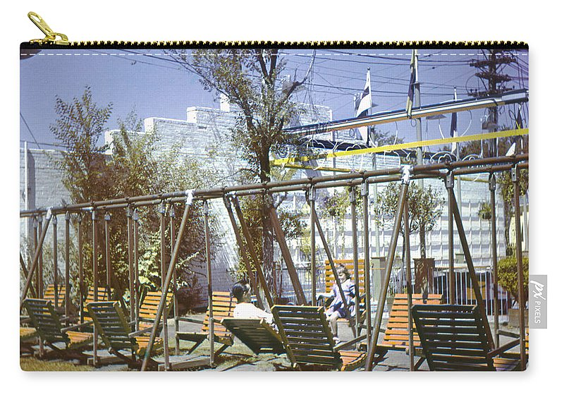 History Carry-all Pouch featuring the photograph Elitch Gardens Chairs 1950s by Marilyn Hunt