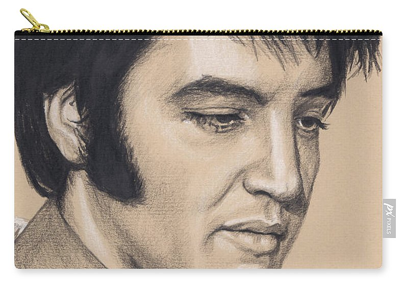 Elvis Carry-all Pouch featuring the drawing Elvis In Charcoal #227 by Rob De Vries