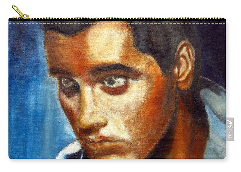 Elvis Carry-all Pouch featuring the painting Elvis Presley - moody blue by Tom Conway