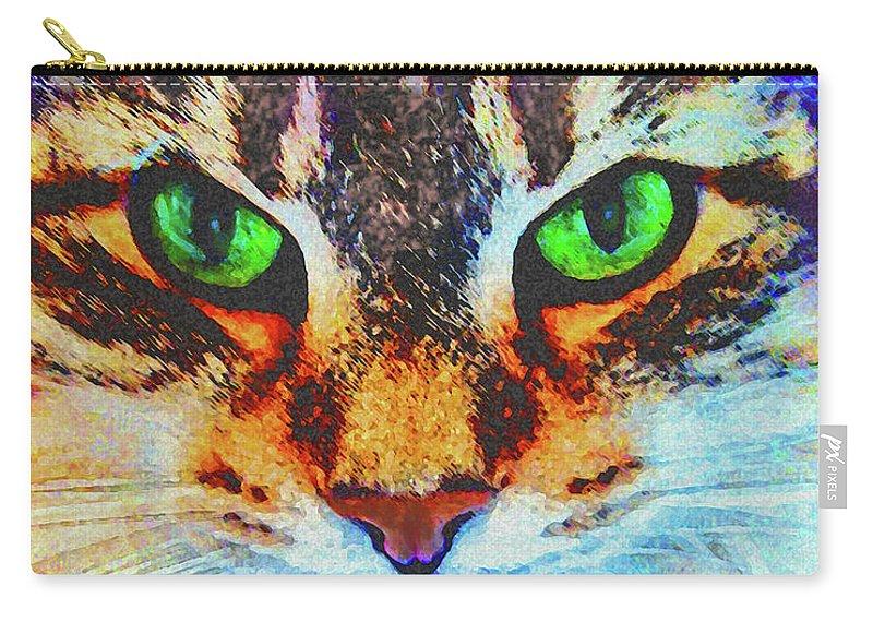 Emerald Gaze Carry-all Pouch featuring the digital art Emerald Gaze by John Robert Beck