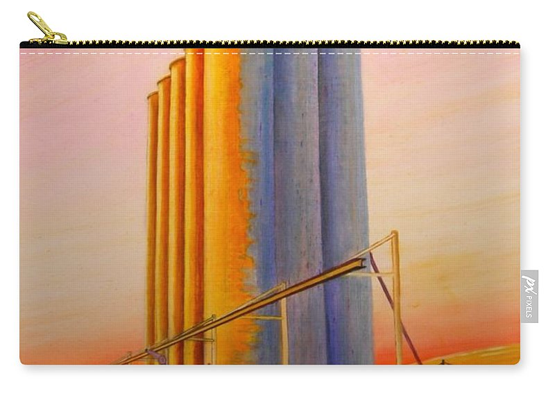 Grain Carry-all Pouch featuring the painting Endicotte Silos by Leonard Heid