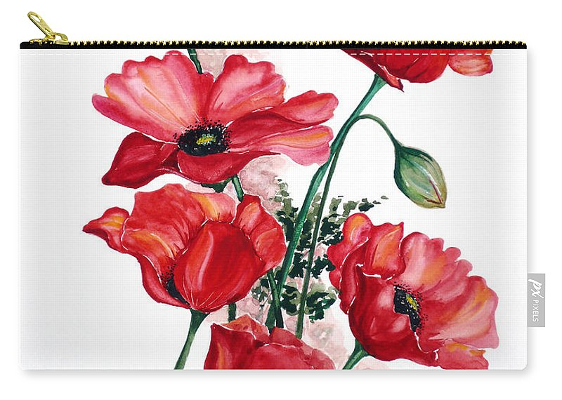 Original Watercolor Of English Field Poppies Painted On Arches Watercolor Paper Carry-all Pouch featuring the painting English Field Poppies. by Karin Dawn Kelshall- Best
