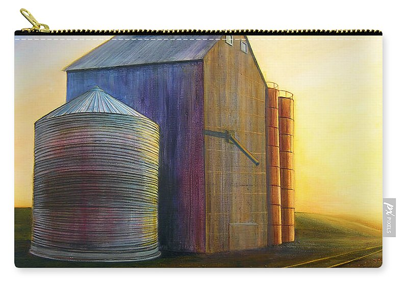 Silos Carry-all Pouch featuring the painting Estes Road Twilight by Leonard Heid