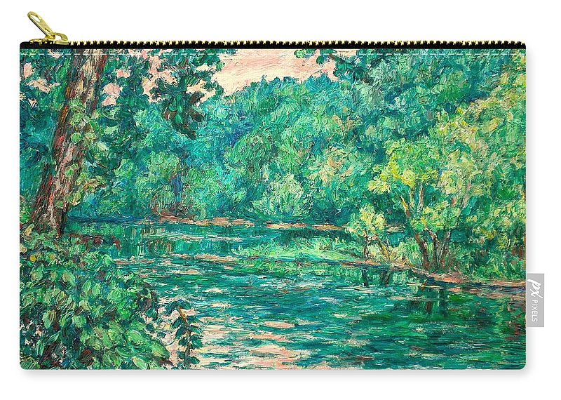 Landscape Carry-all Pouch featuring the painting Evening River Motion by Kendall Kessler