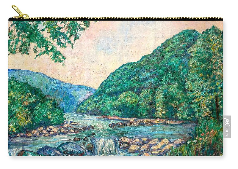 Landscape Carry-all Pouch featuring the painting Evening River Scene by Kendall Kessler