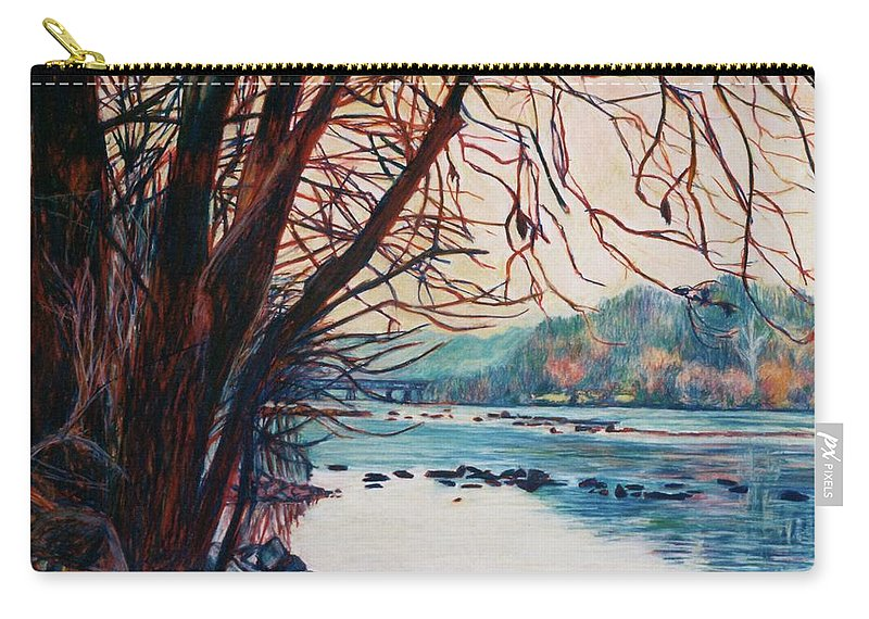New River Carry-all Pouch featuring the pastel Fall on the New River by Kendall Kessler