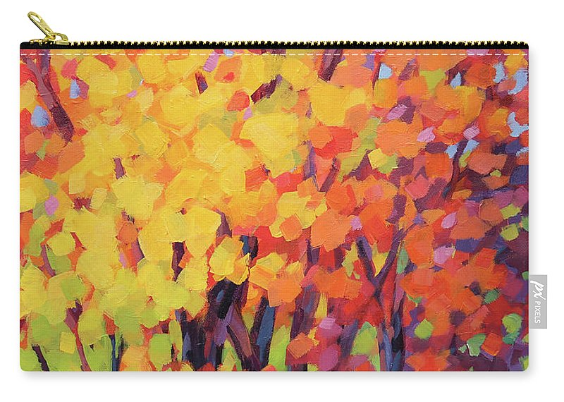 Fall Carry-all Pouch featuring the painting Fall Trees by Karen Ilari