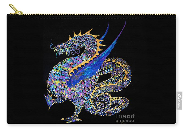 Dragon Fantasy-creature Dragon-illustration Winged-dragon Carry-all Pouch featuring the painting Fancy Dragon 7333 by Priscilla Batzell Expressionist Art Studio Gallery
