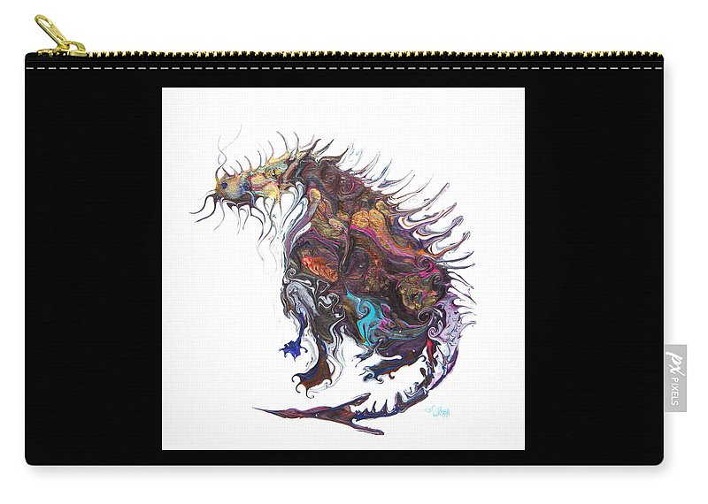 Fantasy Creature Moose-dragon Imaginary Creature Carry-all Pouch featuring the painting Fantasy Moose Dragon by Priscilla Batzell Expressionist Art Studio Gallery