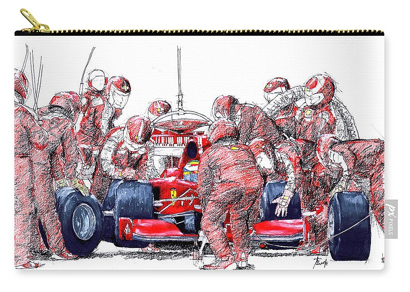 Ferrari Carry-all Pouch featuring the drawing Ferrari a boxes, pits, Original handmade drawing by Drawspots Illustrations