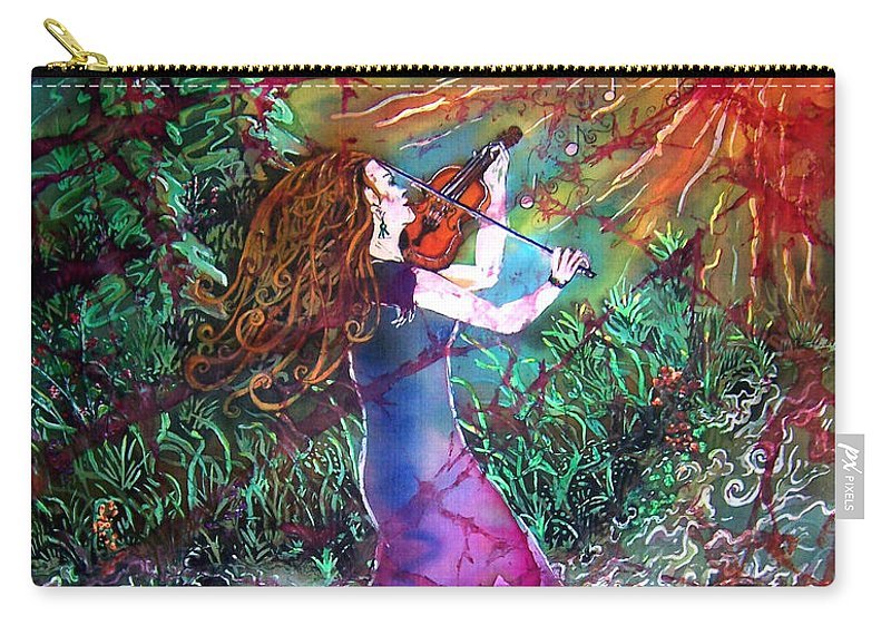 Fiddler Carry-all Pouch featuring the tapestry - textile Fiddler of the Forest 1 by Sue Duda