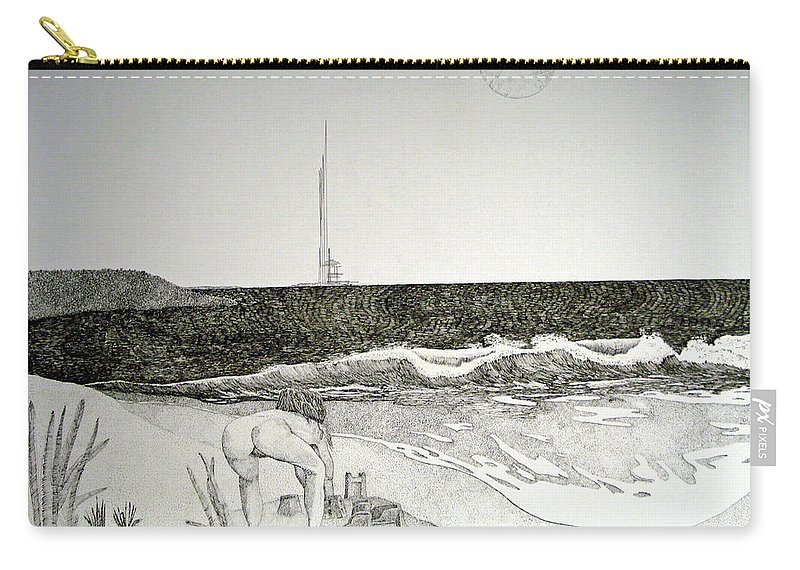 Landscape Carry-all Pouch featuring the painting First the Sand... by A Robert Malcom
